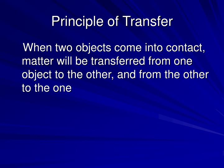 Principle of Transfer
