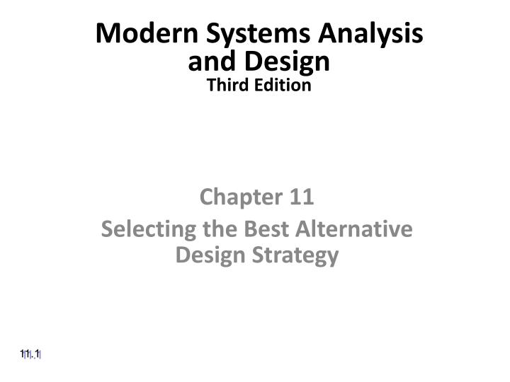 modern systems analysis and design third edition n.