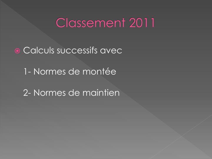 Classement 2011