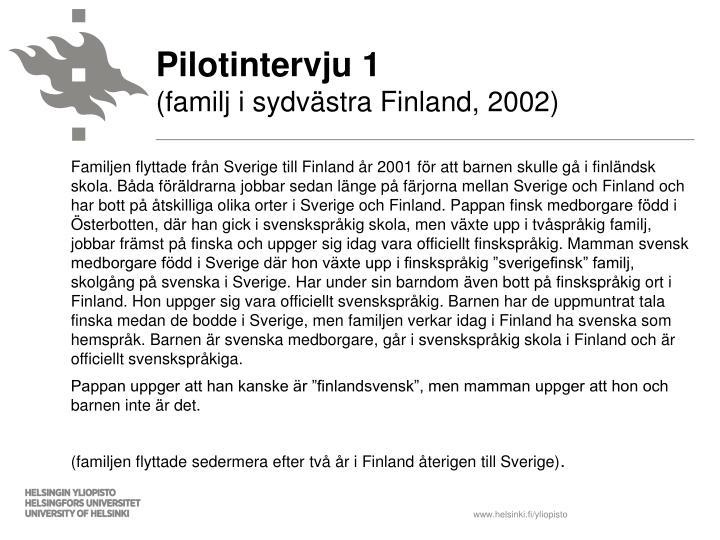 Pilotintervju 1