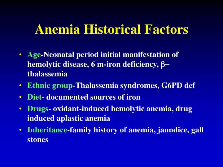 Anemia Historical Factors