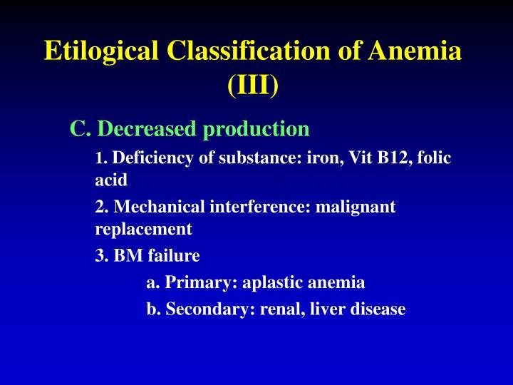 Etilogical Classification of Anemia (III)