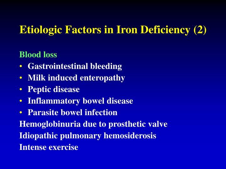 Etiologic Factors in Iron Deficiency (2)