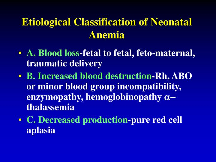 Etiological Classification of Neonatal Anemia