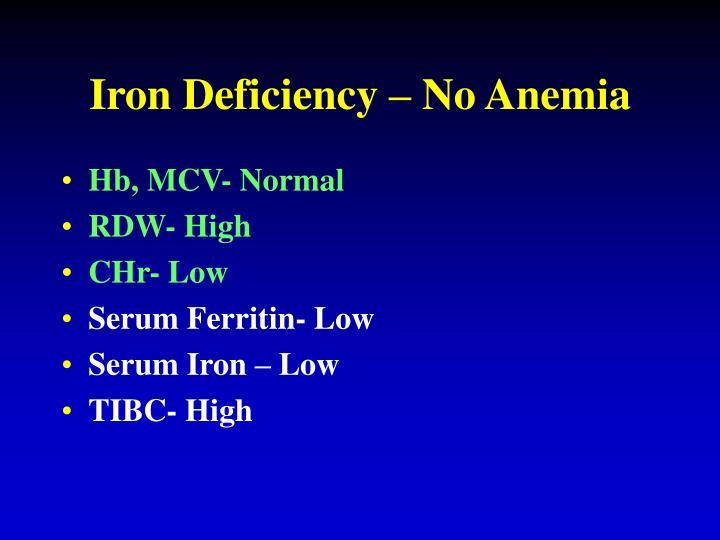 Iron Deficiency – No Anemia