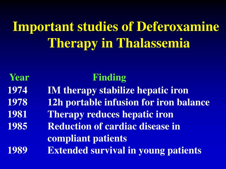 Important studies of Deferoxamine                              Therapy in Thalassemia