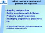 industry works to develop and promote self regulation
