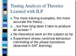 timing analysis of theories learned with ilp