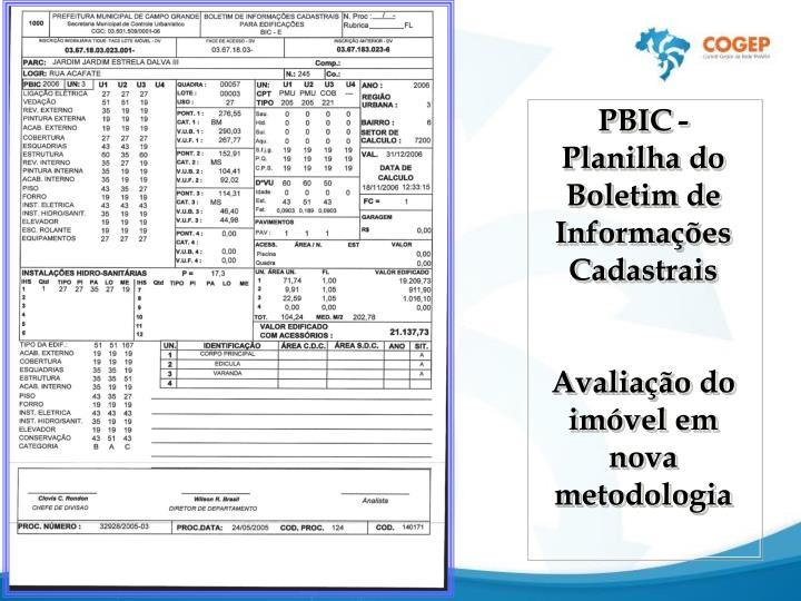 PBIC- Planilha do Boletim de Informações Cadastrais