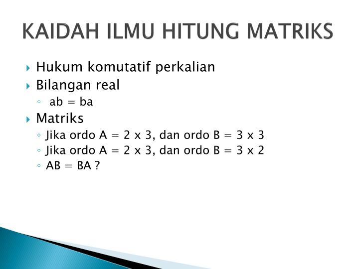 Kaidah ilmu hitung matriks