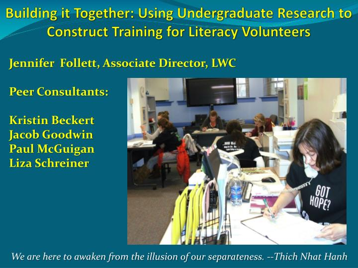 building it together using undergraduate research to construct training for literacy volunteers n.