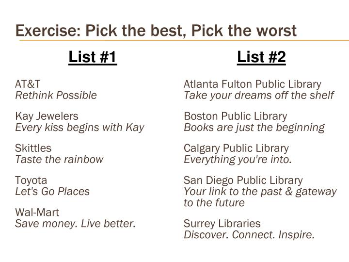 Exercise: Pick the best, Pick the worst
