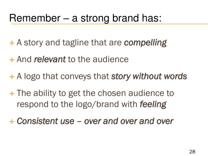 Remember – a strong brand has: