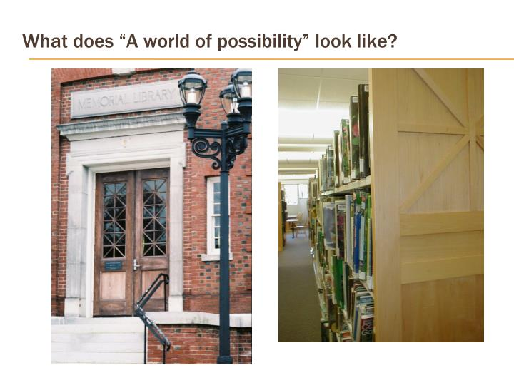 """What does """"A world of possibility"""" look like?"""