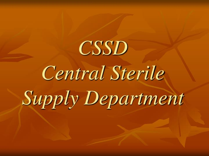 cssd central sterile supply department n.