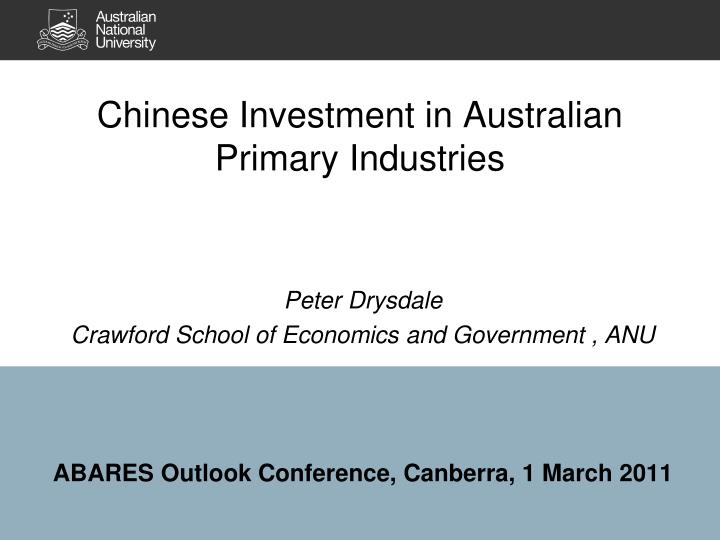 chinese investment in australian primary industries n.