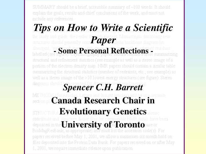 Tips On How To Write A Scientific Paper