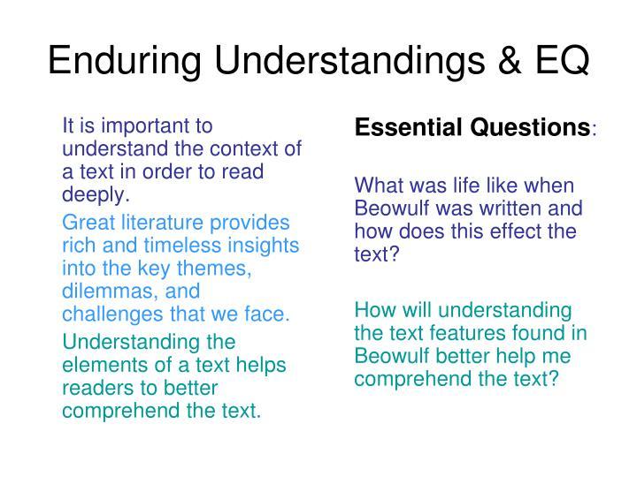 Enduring understandings eq