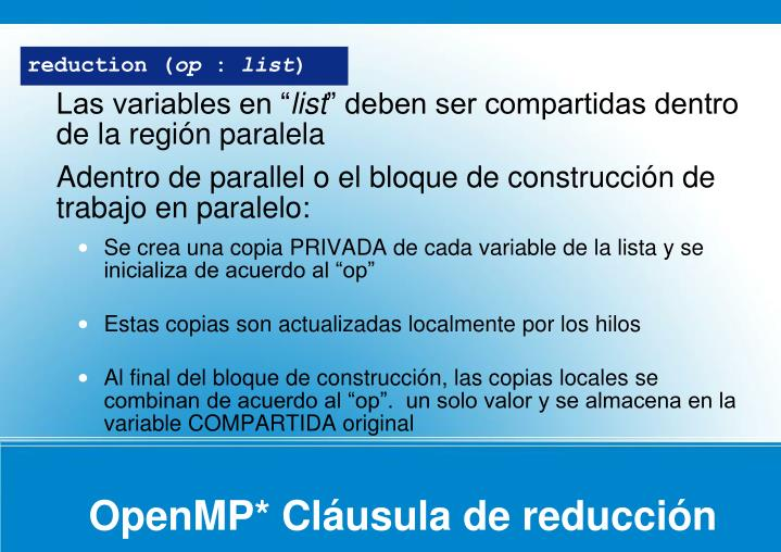 OpenMP* Cláusula de reducción