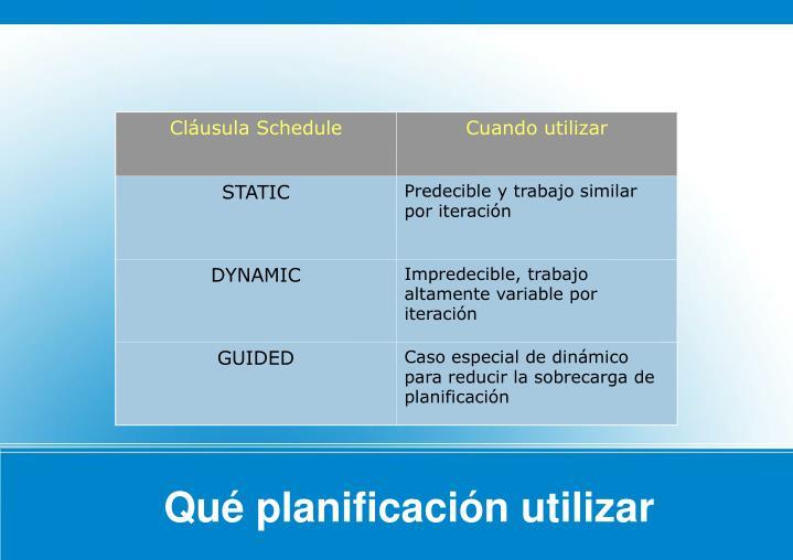Qué planificación utilizar