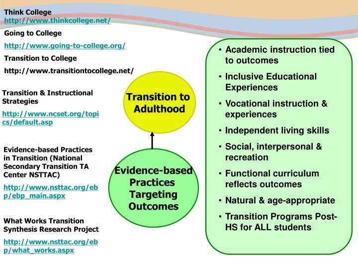 Academic instruction tied to outcomes