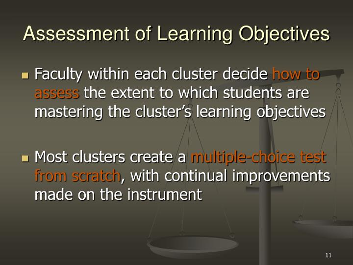 Assessment of Learning Objectives