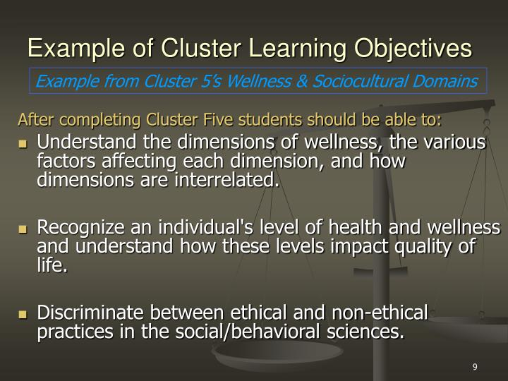 Example of Cluster Learning Objectives