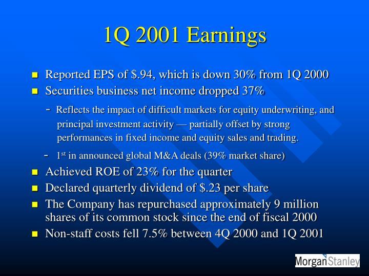 1Q 2001 Earnings