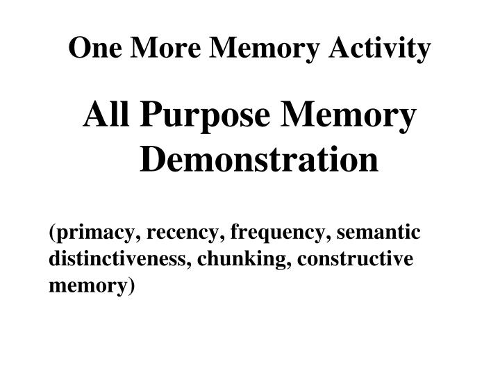 One More Memory Activity