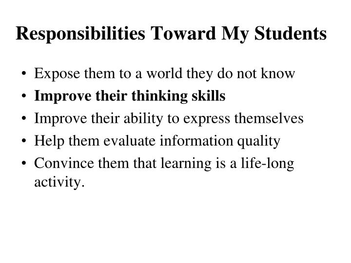 Responsibilities Toward My Students