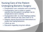 nursing care of the patient undergoing bariatric surgery