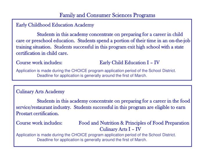 Family and Consumer Sciences Programs