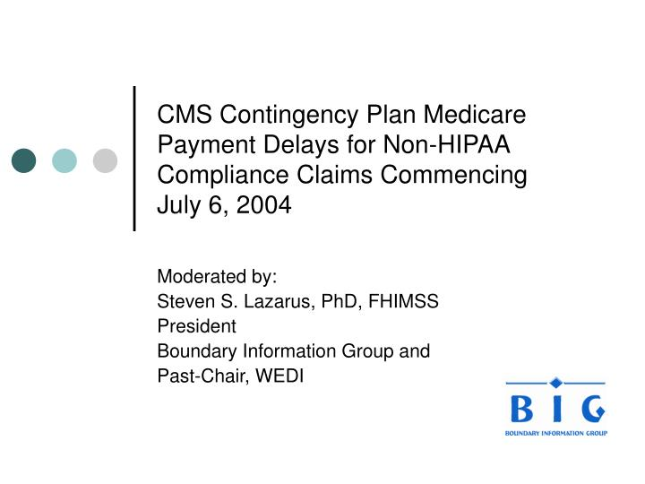 cms contingency plan medicare payment delays for non hipaa compliance claims commencing july 6 2004 n.