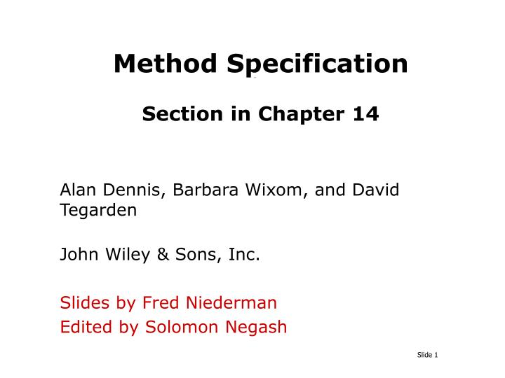 method specification section in chapter 14 n.