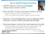 tip for us ep patent families