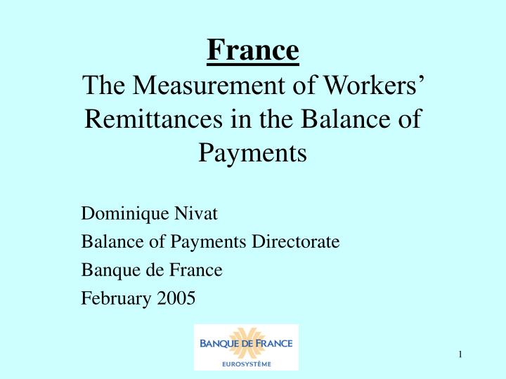 France the measurement of workers remittances in the balance of payments