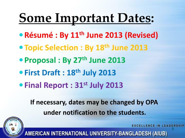 Some Important Dates