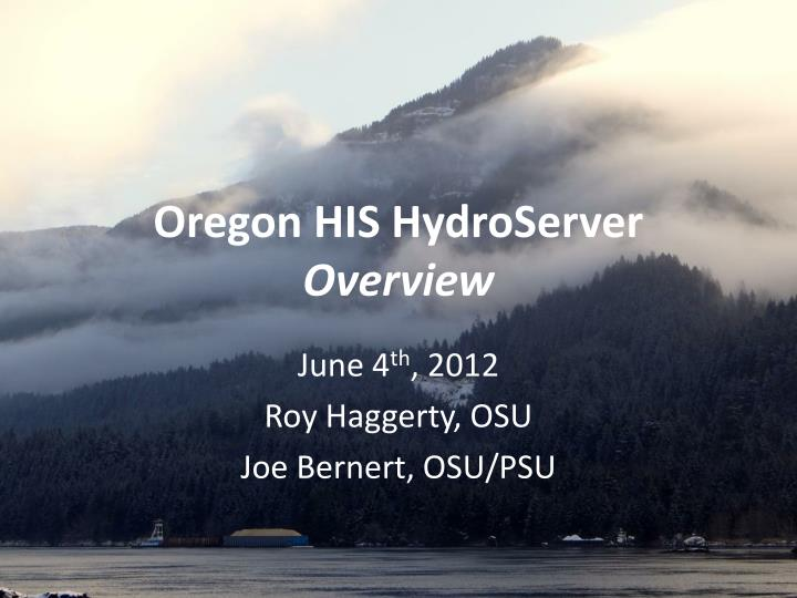 oregon his hydroserver overview n.