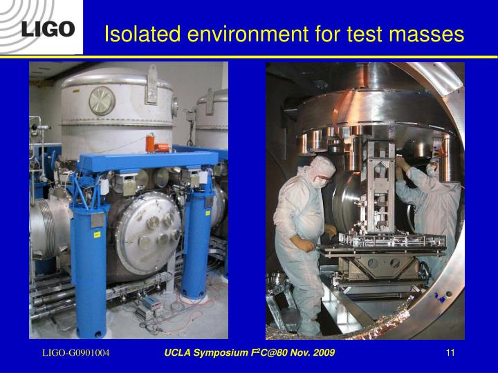 Isolated environment for test masses