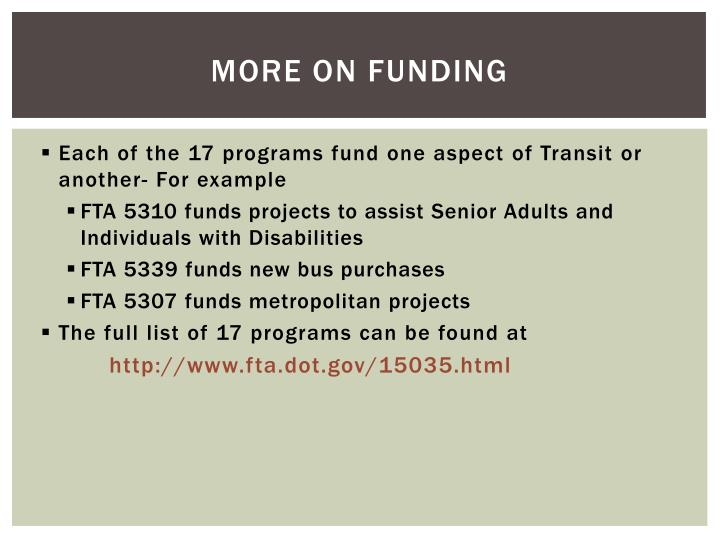 More on funding