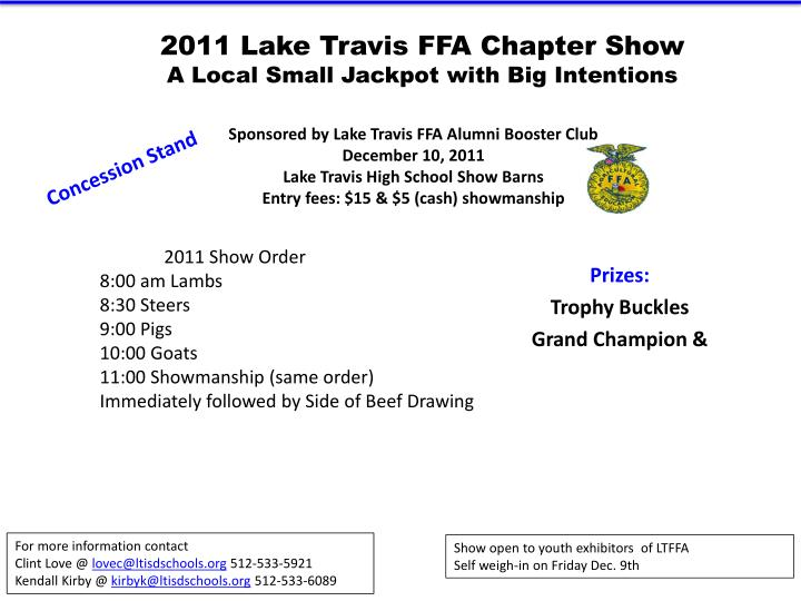 2011 lake travis ffa chapter show a local small jackpot with big intentions