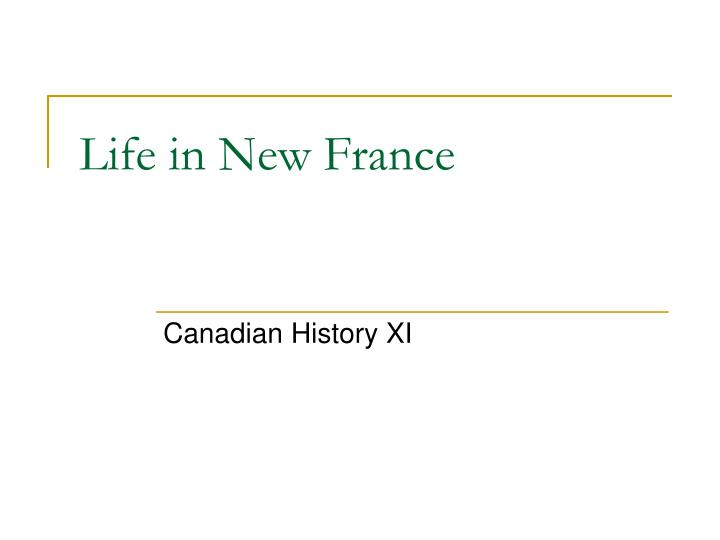life in new france n.