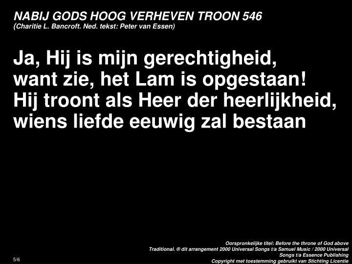 NABIJ GODS HOOG VERHEVEN TROON 546