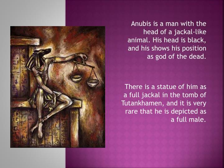 Anubis is a man with the head of a jackal-like animal. His head is black, and his shows his position...