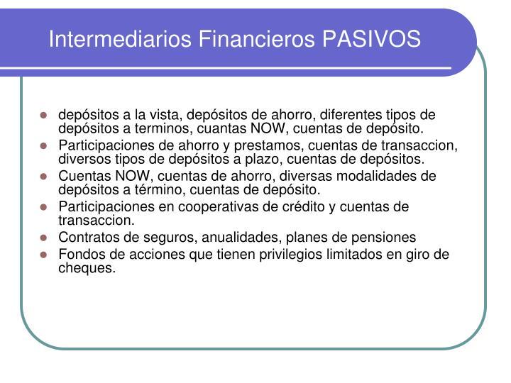 Intermediarios Financieros PASIVOS