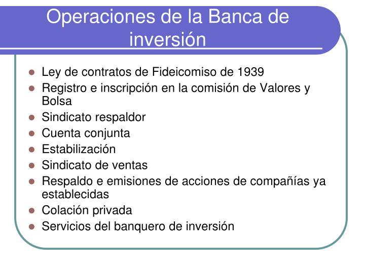 Operaciones de la Banca de inversión