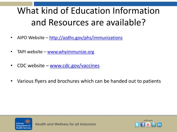 What kind of Education Information and Resources are available?