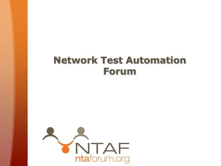 network test automation forum n.