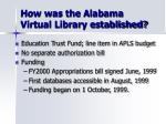 how was the alabama virtual library established