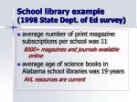 school library example 1998 state dept of ed survey